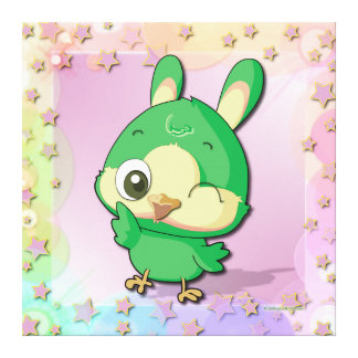 Cute Bird Funny Cartoon Character Kawaii Canvas