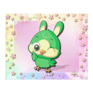 Cute Bird Funny Cartoon Character Kawaii Canvas Gallery Wrap Canvas