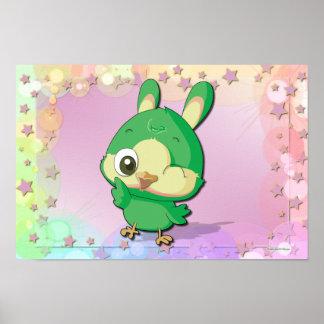 Cute Bird Funny Cartoon Character Kawaii Poster
