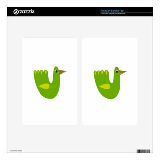 Cute bird green on white kindle fire decals