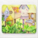 Cute Bird Houses Mouse Pad