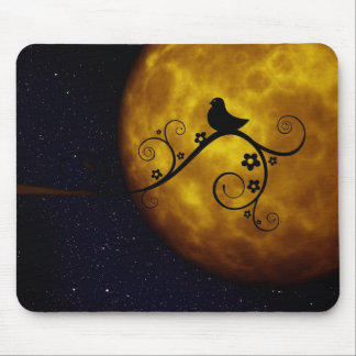 Cute Bird in the Moonlight Mouse Pad