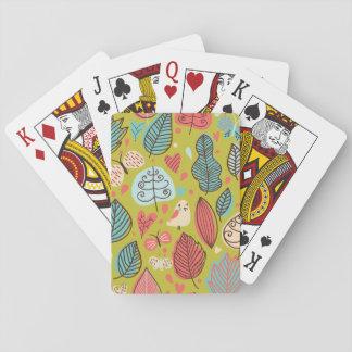 Cute Bird/Leaf Pattern Playing Cards
