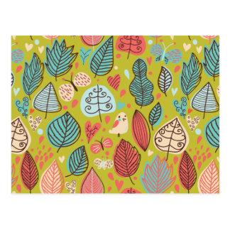 Cute Bird/Leaf Pattern Postcard