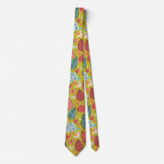 Cute bird/Leaf Pattern Tie