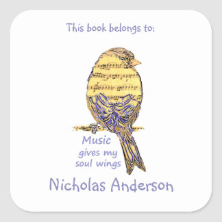 Cute Bird Music give Wings Quote  Bookplate