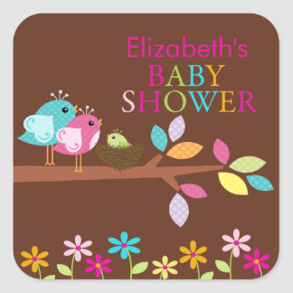 Cute Bird Nest Thank You Baby Shower Square Square Stickers