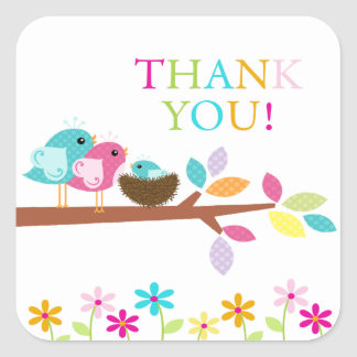 Cute Bird Nest Thank You Baby Shower Square Square Sticker
