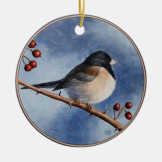 Cute Bird Oregon Junco and Winter Berries Ceramic Ornament