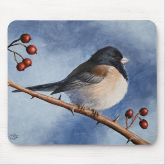 Cute Bird Oregon Junco and Winter Berries Mouse Pad