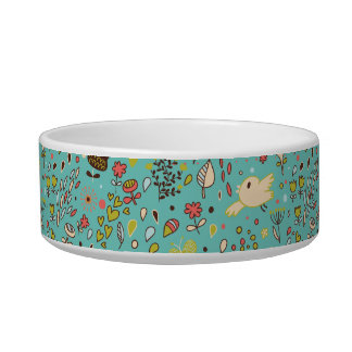 Cute Bird Pattern Five Dog Bowls