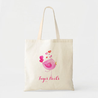 Cute bird pink kids named id library tote bag