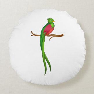 Cute bird Quetzal Round Pillow