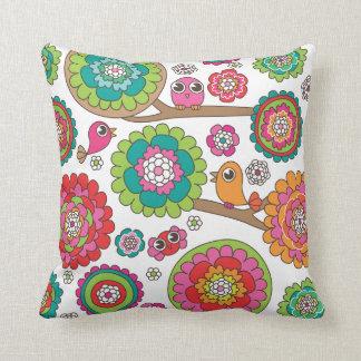 Cute bird retro pattern flower design throw pillow