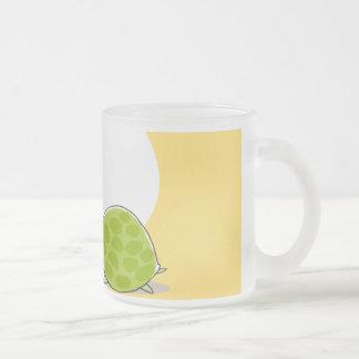Cute bird singing to shy turtle frosted glass coffee mug