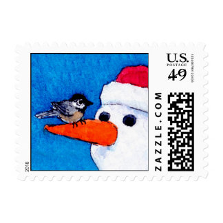 Cute bird, snowman winter Christmas postage stamps