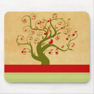 Cute Bird Swirl Tree Gifts and Invitations Mouse Pad