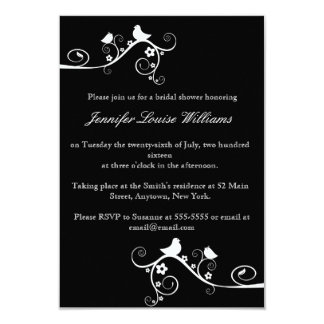 Cute Bird Vines Bridal Shower Invitations