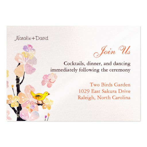 Cute Bird Wedding Reception Enclosure (3.5x2.5) Business Card Templates