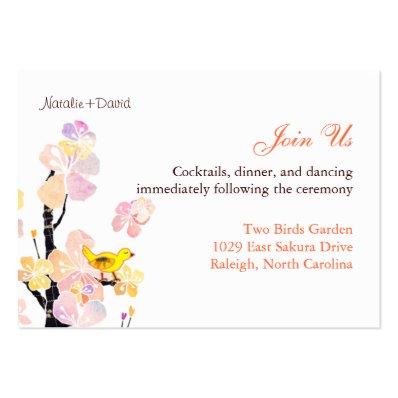 Cute Bird Wedding Reception Enclosure Large Business Card