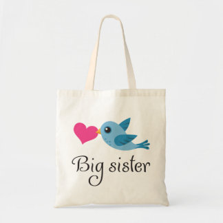 Cute bird with love heart big sister tote bag