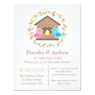 Cute Birdhouse Leaves Wreath Bird Baby Shower Card