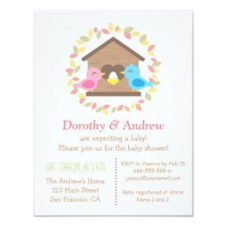 Cute Birdhouse Leaves Wreath Bird Baby Shower 4.25x5.5 Paper Invitation Card