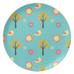 Cute Birdie With A Tree Party Plate