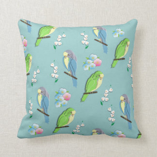 Cute Birds and Ditsy Floral Print Throw Pillow
