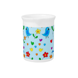 Cute birds and flowers - blue beverage pitcher