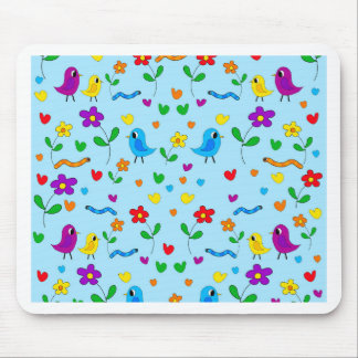 Cute birds and flowers - blue mouse pad