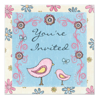 Cute Birds and Flowers Girls Baby Shower Invite