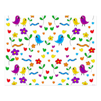 Cute birds and flowers pattern postcard
