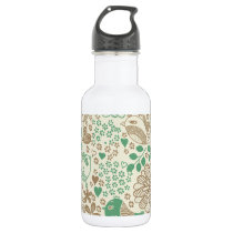 Cute Birds and Flowers Seamless Floral Pattern Water Bottle