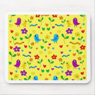 Cute birds and flowers - yellow mouse pad