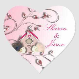 Cute Birds Bird House Flowers Pink Heart Sticker