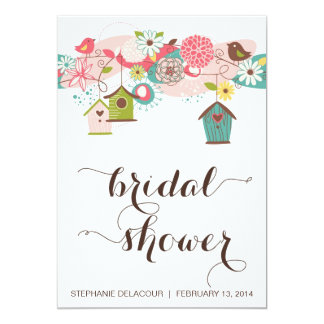 Cute Birds & Bird Houses Bridal Shower Invitation
