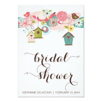 Cute Birds & Bird Houses Bridal Shower Invitation