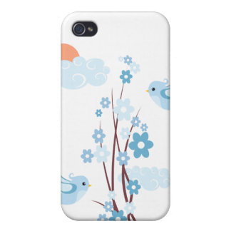 Cute Birds Blue Blossom Flowers Case For iPhone 4