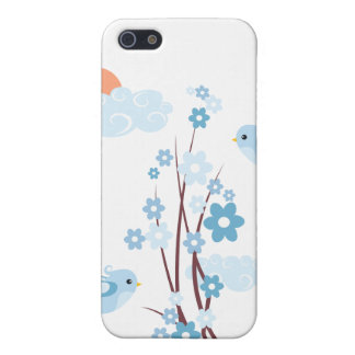 Cute Birds Blue Blossom Flowers iPhone 5 Cases
