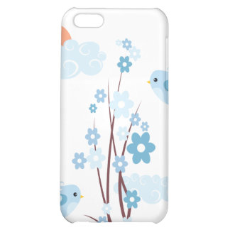 Cute Birds Blue Blossom Flowers Cover For iPhone 5C