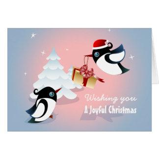 Cute Birds Christmas Present Card