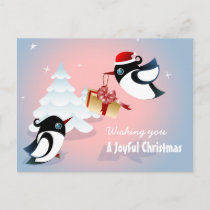 Cute Birds Christmas Present Holiday Postcard