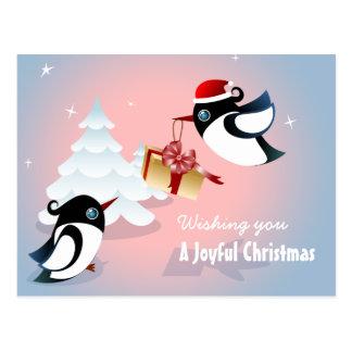 Cute Birds Christmas Present Post Cards