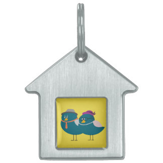 Cute Birds Couple in House Pet Tag