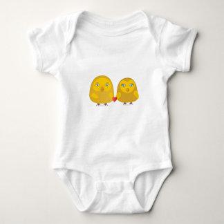 Cute birds couple in love baby bodysuit