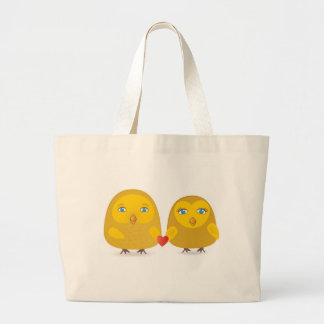 Cute birds couple in love large tote bag