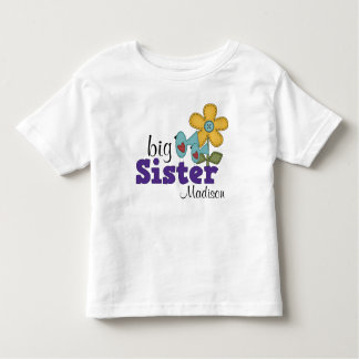 Cute Birds Daisy Flower Big Sister T Shirts