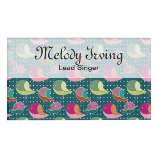 Cute Birds & Dots seamless pattern + your ideas Name Tag
