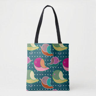 Cute Birds & Dots seamless pattern + your ideas Tote Bag